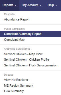 Gaia - Complaint Summary Report menu